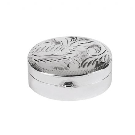 Sterling Silver Oval Engraved Pillbox